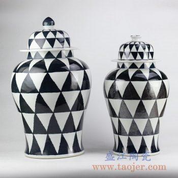 RYNQ205_黑白菱形花色将军罐陶瓷罐储物罐摆件品大号
