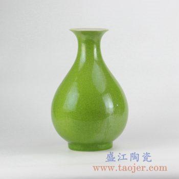RYNQ208_颜色釉翠绿玉壶春瓶花瓶花插陶瓷器摆件品