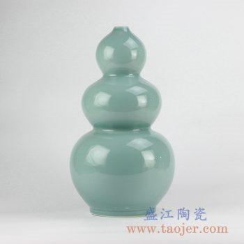 RYNQ209_颜色釉浅绿三节葫芦瓶花瓶花插陶瓷罐艺术摆件品
