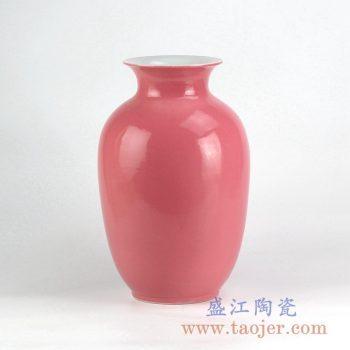 RYNQ20_颜色釉胭脂红冬瓜瓶花瓶花插陶瓷罐摆件品