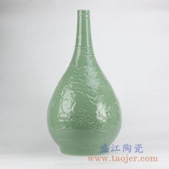RYNQ210_影青雕刻龙纹胆瓶花瓶花插仿古陶瓷罐摆件品