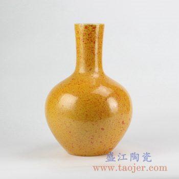 RYNQ211_颜色釉黄色天球瓶花瓶花插陶瓷家居摆件品