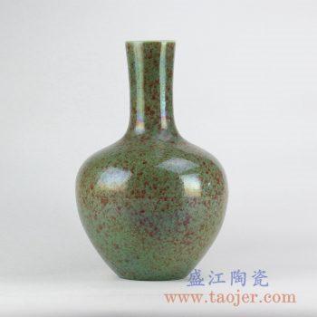 RYNQ213_颜色釉绿色天球瓶花瓶花插陶瓷家居摆件品