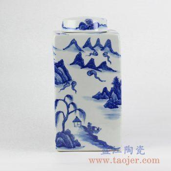 RYNQ214_青花手绘山水四边形方茶叶罐储物密封罐摆件