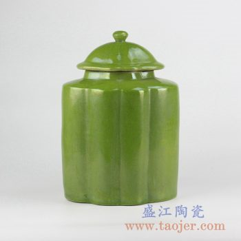 RYNQ215_颜色釉绿色多边形茶叶罐储物罐密封罐摆件