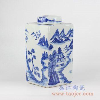 RYNQ214_青花山水四边形方罐茶叶罐储物罐陶瓷密封罐