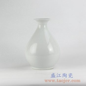 RYNQ219_全白玉壶春花瓶花插景德镇陶瓷罐艺术摆件品