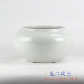 RYNQ220_全白陶瓷罐鱼缸花瓶花插景德镇艺术摆件品