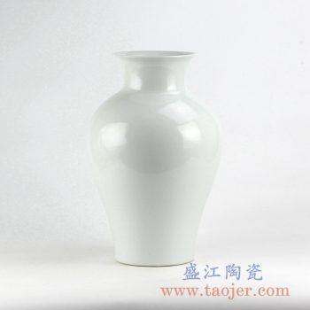 RYNQ222_全白花瓶花插陶瓷瓶景德镇艺术摆件品