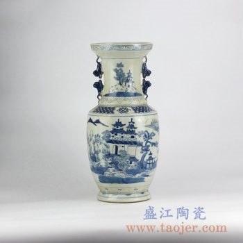 RYVM27-old_仿古手绘青花山水双耳花瓶花插陶瓷罐艺术摆件