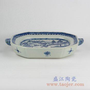 RYVM30_仿古手绘青花双耳陶瓷盘鱼缸茶洗水洗摆件