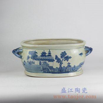 RYVM31-OLD_仿古手绘青花楼阁双耳陶瓷盘烟缸鱼缸水洗茶洗
