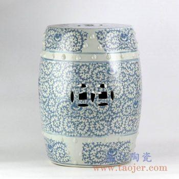 RYVM32_青花喜字缠枝莲铜钱孔凉凳陶瓷墩家居摆件