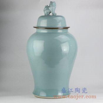 RYWY11_影青紫金边狮子头将军罐颜色釉陶瓷罐家居摆件