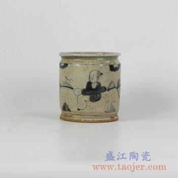 RZFB07-B_仿古开片手绘人物陶瓷罐储物罐笔筒