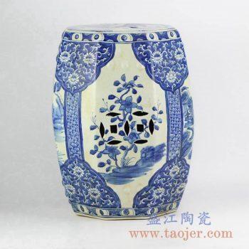RZKJ01-A_青花山水花朵雕刻带铜钱孔凉凳陶瓷墩家居用品