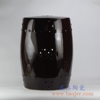 RZKL01-A_深咖啡色 雕刻带铜钱孔陶瓷凉凳瓷墩花园凳家居摆件