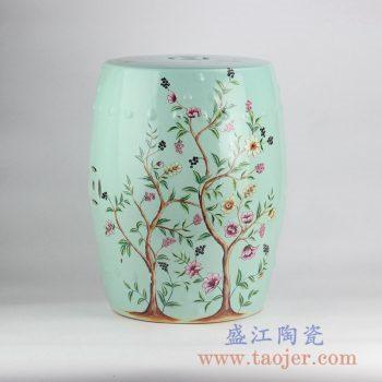 RZKL03-A_浅绿花鸟树木凉凳带铜钱孔陶瓷墩家居用品