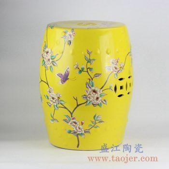 RZKL03-B_颜色釉黄色花鸟树木凉凳带铜钱孔陶瓷墩家居用品