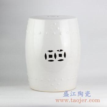 RZKL03-D_全白雕刻陶瓷凳带铜钱孔瓷墩花园凉凳家居摆件