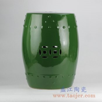 RZKL03-F_深绿颜色釉雕刻陶瓷凳带铜钱孔瓷墩搁物凳家居用品