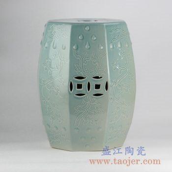 RZKL04-A_颜色釉多边形雕刻瓷凳陶瓷墩家居用品