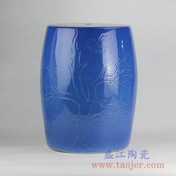 RZKL05-A_浅兰雕刻花鸟陶瓷凳颜色釉凉墩花园凳浴室搁物器