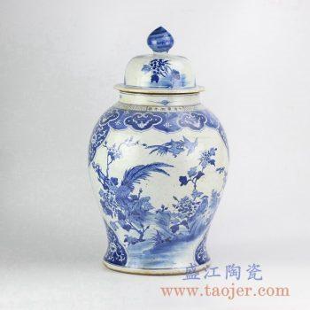 RZKM01-A_青花花鸟将军罐陶瓷瓶花瓶花插艺术摆件