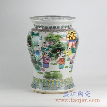 RZKN01_定做定制手绘粉彩百子图陶瓷凳凉墩花园凳家居摆件