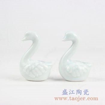 2C05-C_青釉陶瓷动物雕塑摆件 陶瓷鹅 客厅房间现代家居个性装饰品