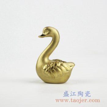2C05-E_陶瓷镀金工艺品动物鹅摆件 现代高档家居装饰品