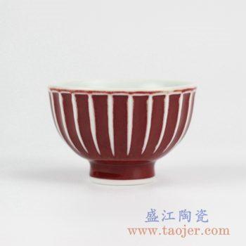 2L16_景德镇颜色釉红釉瓜棱纹品茗单杯 茶杯 小品杯