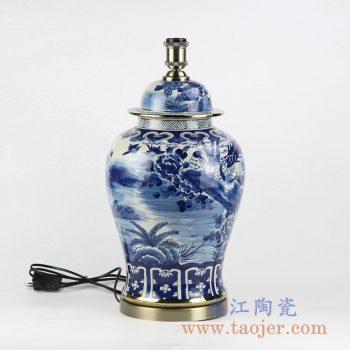 DS102-RZFZ02-A_传统手绘青花花鸟图镀金陶瓷台灯 客厅卧室餐厅装饰摆件