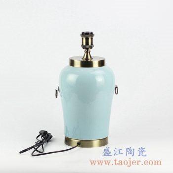 DS105-RZJX04_景德镇单色釉蓝色青釉陶瓷台灯 家居装饰现代风格摆件陈设