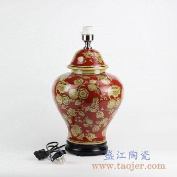 DS90-RYPU42_红底花卉图案将军罐陶瓷台灯摆件 红色喜庆家居装饰中国风家装摆件