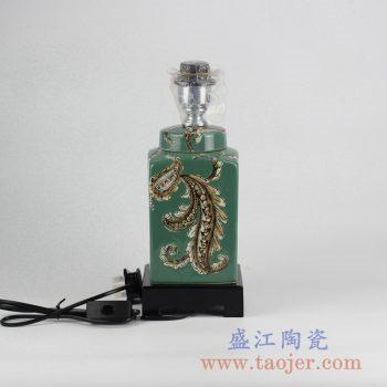 DS95-RZKQ02 颜色釉绿色雕刻陶瓷灯座灯具罐子摆件品