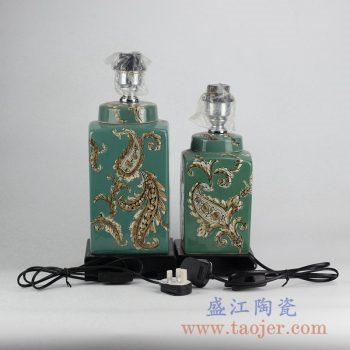 RZKQ02    景德镇颜色釉绿色雕刻陶瓷台灯灯具罐子大小号摆件品
