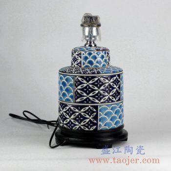DS96-RYPU14_现代风格手绘海水纹装饰陶瓷台灯摆件 客厅卧室餐厅装饰摆件
