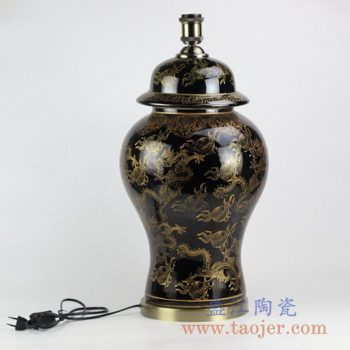 DS99-RYRJ14_景德镇颜色釉黑釉描金龙纹陶瓷台灯 现代古典风格家居装饰摆件