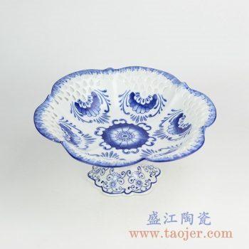RYFC21_青花镂空高脚果盘 现代风格陶瓷果盘 装饰瓷盘 收纳盘
