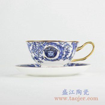 RYIJ05-青花描金咖啡杯套装 欧式风格时尚咖啡具 茶杯 陶瓷杯