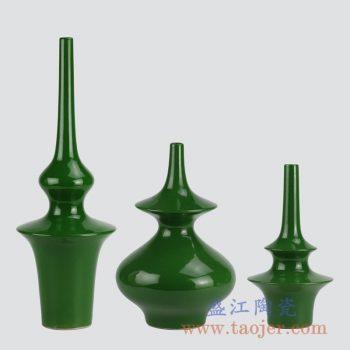 RYKB150-BJ_绿釉单色釉陶瓷家居花瓶装饰摆件套装 现代简约风格客厅书房展厅陶瓷装饰品