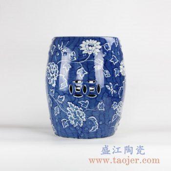 RYLU131_景德镇手绘青花花卉留白陶瓷瓷凳 凉凳 户外家具   现代家居装饰陶瓷