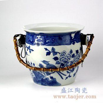 RYLU132_景德镇手绘青花创意陶瓷篮子提篮 现代创意生活用品装饰摆件 户外野餐容器