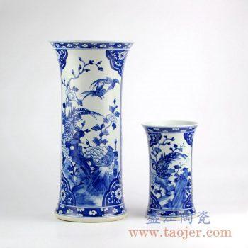 RYLU133_景德镇手绘青花花鸟花瓶 传统中式陶瓷花瓶摆件 大小号花瓶