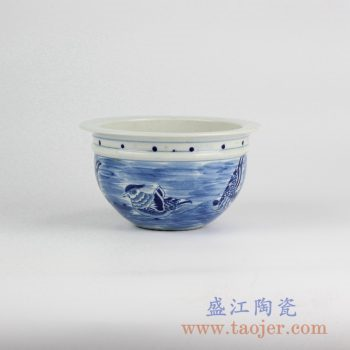 RYLU52-B_景德镇手绘青花传统手绘鸟图案花盆 鱼缸 装饰摆件