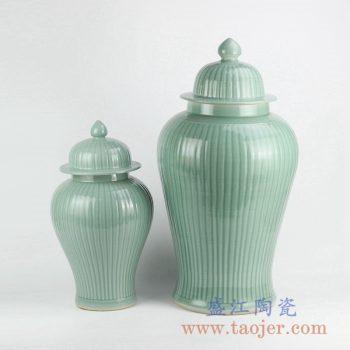 RYMA99-A_景德镇青釉瓜棱纹陶瓷落地将军罐家居装饰摆件 大小号陶瓷罐
