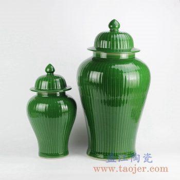 RYMA99-C_绿色颜色釉瓜棱纹陶瓷将军罐摆件 现代风格家居装饰落地摆件 大号陶瓷储物罐