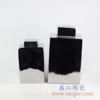 RYNQ201-A_方形镀银陶瓷罐装饰摆件 现代简约风格家居装饰品 茶叶罐 储物罐