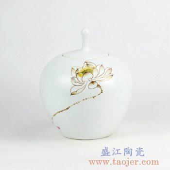 RYNQ223_现代手绘陶瓷花瓶装饰摆件 荷花图案家居陶瓷饰品 现代简约风格